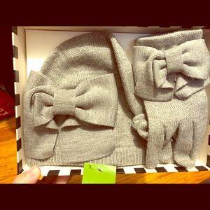 Kate Spade Gray Bow Hat Beanie & Glove Gift Set 🎄